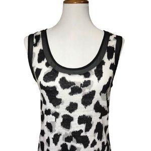 Banana Republic Linen Cheetah Print Black Blouse